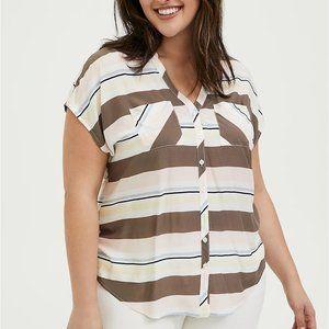 Torrid 1 Multi Stripe Challis Dolman Sleeve Blouse